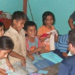 David and a group of Peruvian children having fun together.