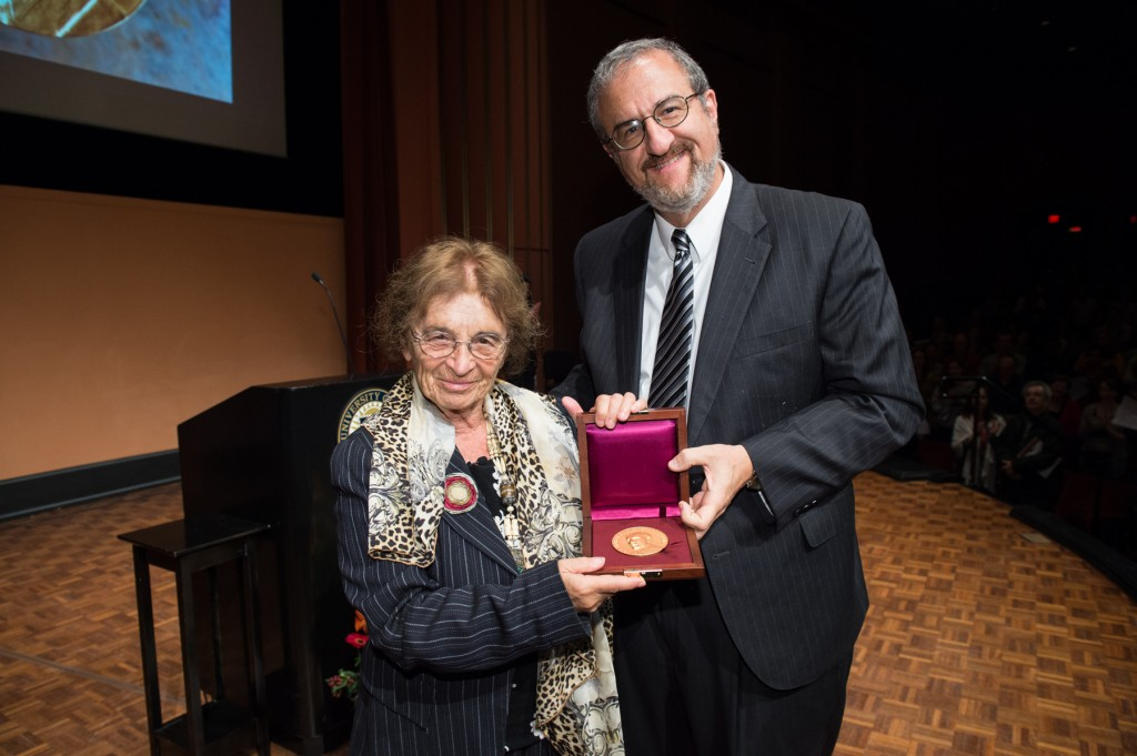 Agnes Heller and U-M President Mark Schlissel.